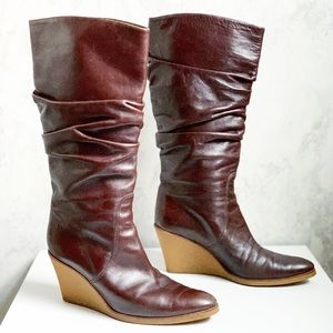 Salvatore Ferragamo Leather Slouch Wedge Boots 7B